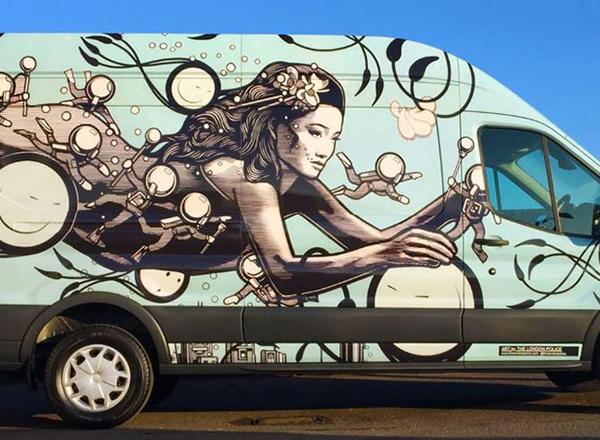 ShipArt global distribution decorated van from Flight Logistics